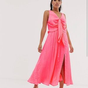 ASOS DESIGN PINK PLEATED KNOT FRONT MAXI DRESS 0